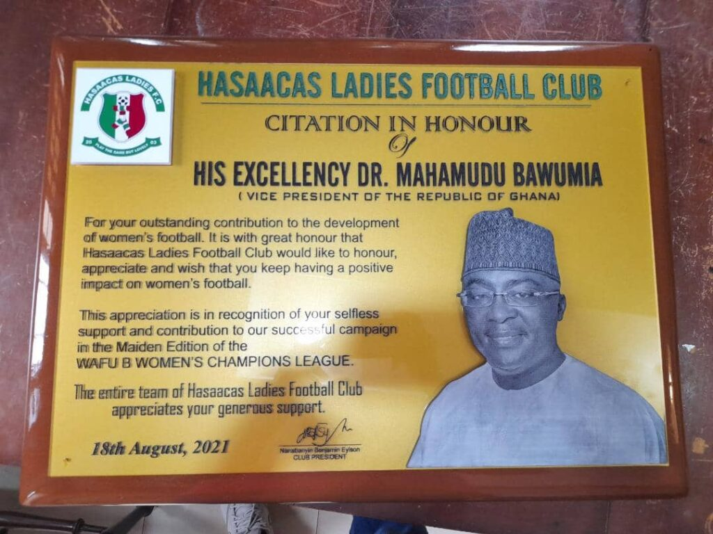 Hasaacas Ladies Citation to His Excellency Dr. Mahamudu Bawumia