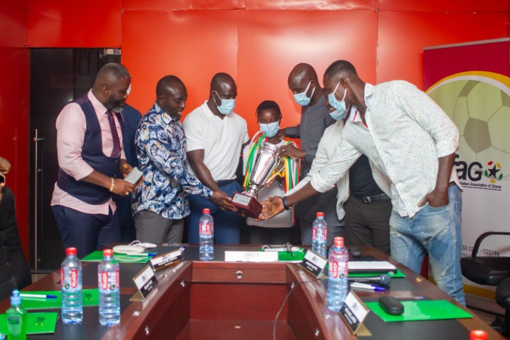 Hasaacas Ladies FC at the office of the Processional Footballers Association of Ghana